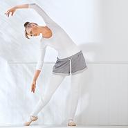 A woman performs ballet as exercise.