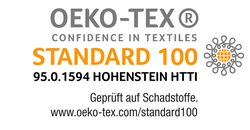 Öko-Tex® Standard 100 gewährleistet hautfreundliche Inhaltsstoffe.