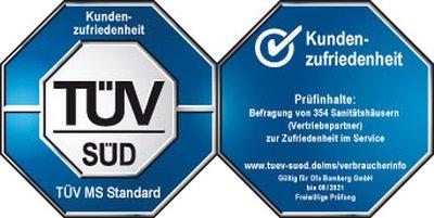"""Ofa Bamberg wurde durch die TÜV SÜD Management Service GmbH zertifiziert und darf das Prüfsiegel """"Kundenzufriedenheit"""" führen."""