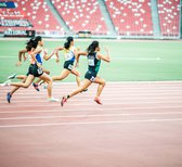 Sprinting puts enormous strain on the ankle joints.